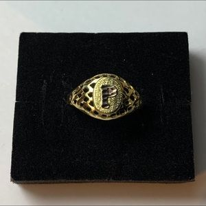 Real 10k Gold Women's Initial Ring